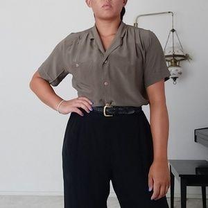 100% silk Rafaella button up shirt sleeve shirt